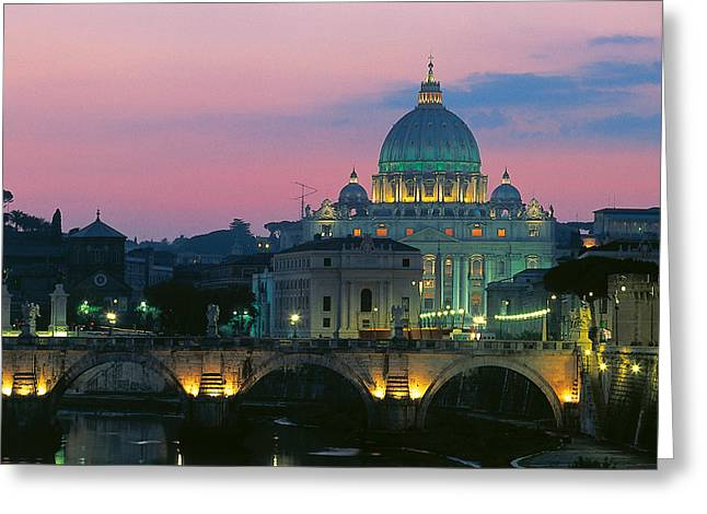 Rome At Night With A View Of Saint Peters Basilica Greeting Card