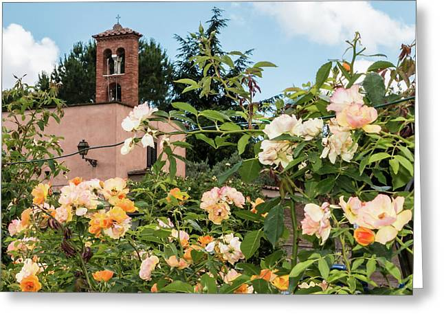 Rome Bell Tower From Roses Garden Greeting Card