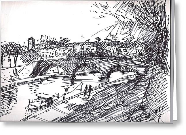 Bridge At Isola Tiberina Rome Sketch Greeting Card