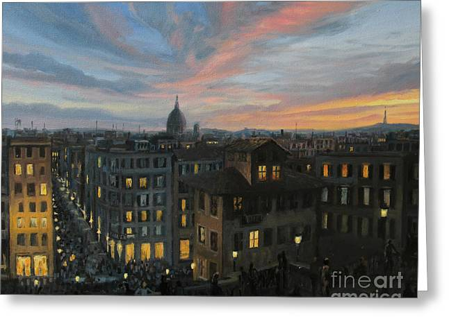 Rome In The Light Of Sunset Greeting Card by Kiril Stanchev