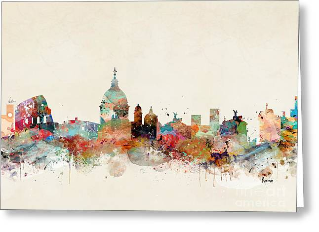 Greeting Card featuring the painting Rome Italy Skyline by Bri B