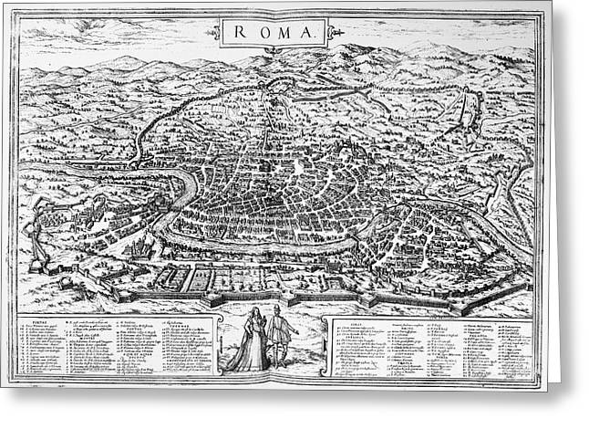 1576 Greeting Cards - Rome: Map, 1576 Greeting Card by Granger