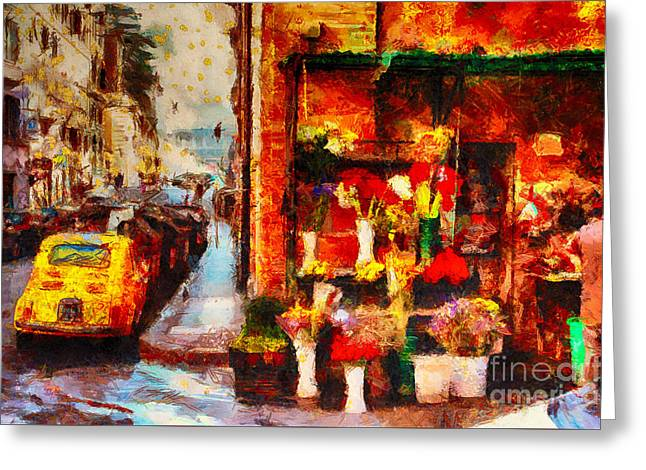 Rome Street Colors Greeting Card by Stefano Senise
