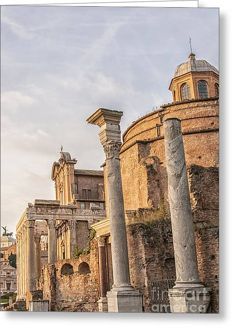 Rome Temples Of Antoninus And Faustina Greeting Card by Antony McAulay