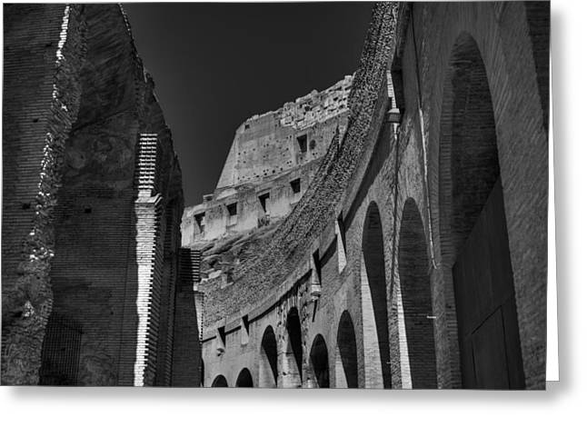 Greeting Card featuring the photograph Rome - The Colosseum 001 Bw by Lance Vaughn