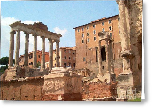 Greeting Card featuring the mixed media Rome The Eternal City And Temples by Rosario Piazza
