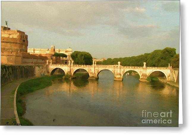 Greeting Card featuring the painting Rome The Eternal City And Tiber River by Rosario Piazza