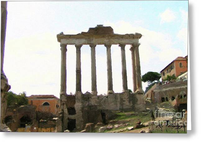 Greeting Card featuring the mixed media Rome The Eternal City by Rosario Piazza