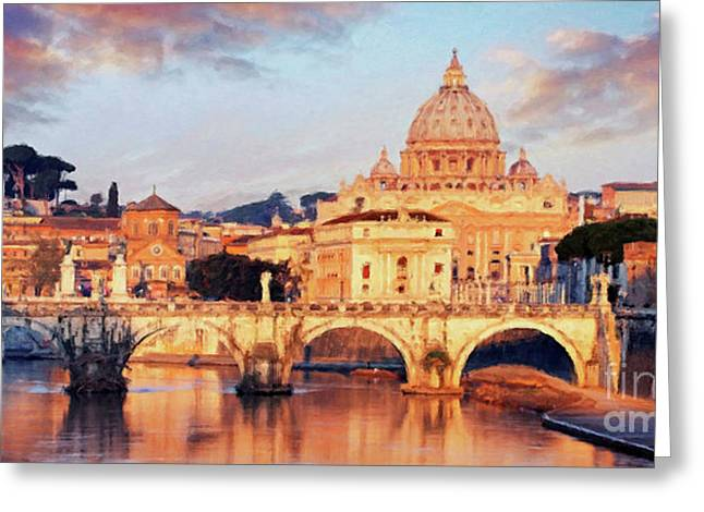 Greeting Card featuring the mixed media Rome The Eternal City - Saint Peter From The Tiber by Rosario Piazza