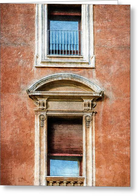 Rome Windows And Balcony Textured Greeting Card