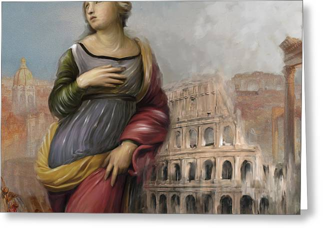 Rome Woman 157 1  Greeting Card by Mawra Tahreem