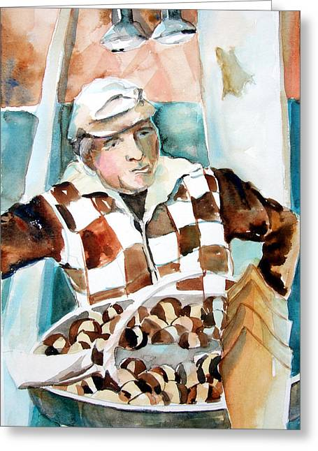 Romes Chesnut Man Greeting Card by Mindy Newman