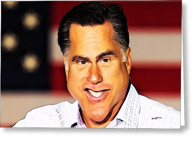 Romney Caricature Greeting Card by Anthony Caruso