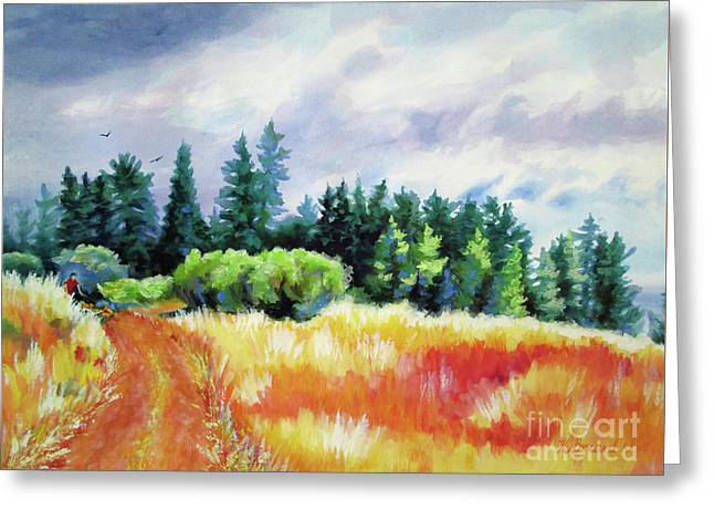 Greeting Card featuring the painting Romp On The Hill by Kathy Braud