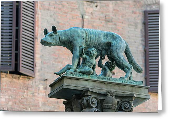 Romulus, Remus And Wolf, Italy Greeting Card by Ken Welsh