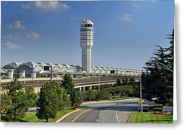 Traffic Control Greeting Cards - Ronald Reagan National Airport Greeting Card by Brendan Reals