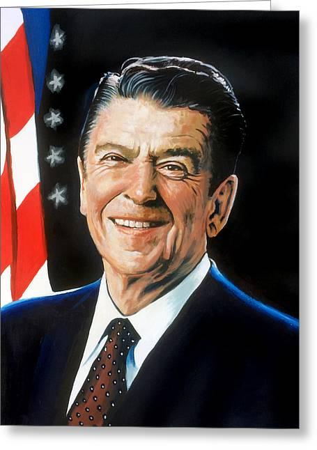Ronald Reagan Portrait Greeting Card by Robert Korhonen