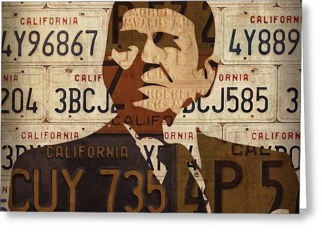 Ronald Reagan Presidential Portrait Made Using Vintage California License Plates Greeting Card by Design Turnpike