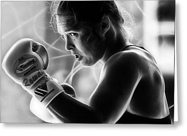 Ronda Rousey Fighter Greeting Card by Marvin Blaine