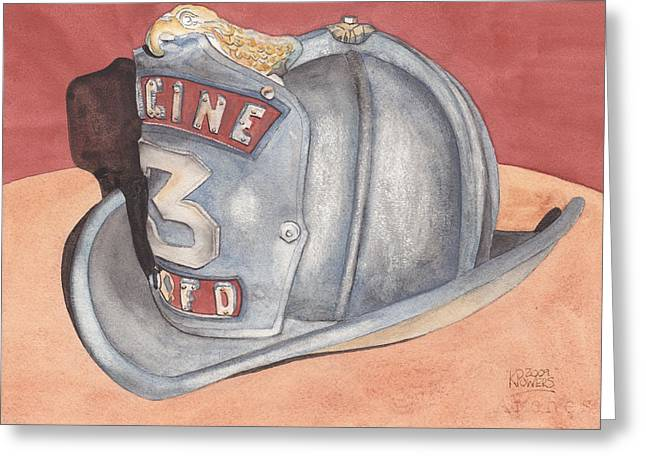 Rondo's Fire Helmet Greeting Card by Ken Powers