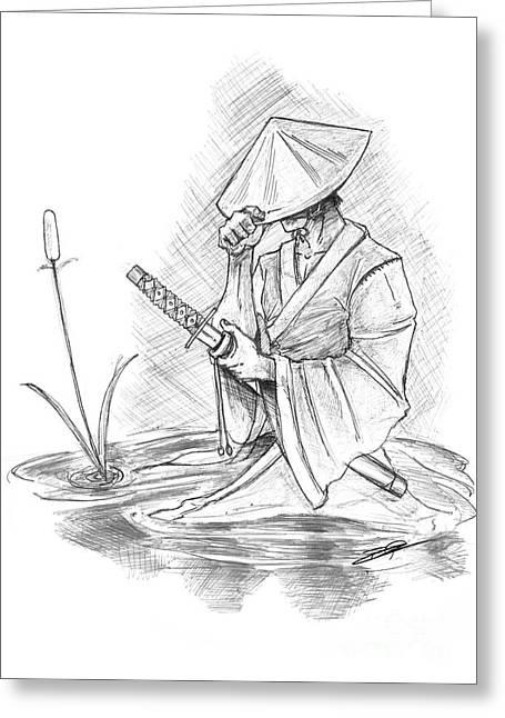 Ronin Samurai Greeting Card by Baron Pollak