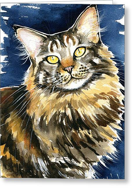 Ronja - Maine Coon Cat Painting Greeting Card