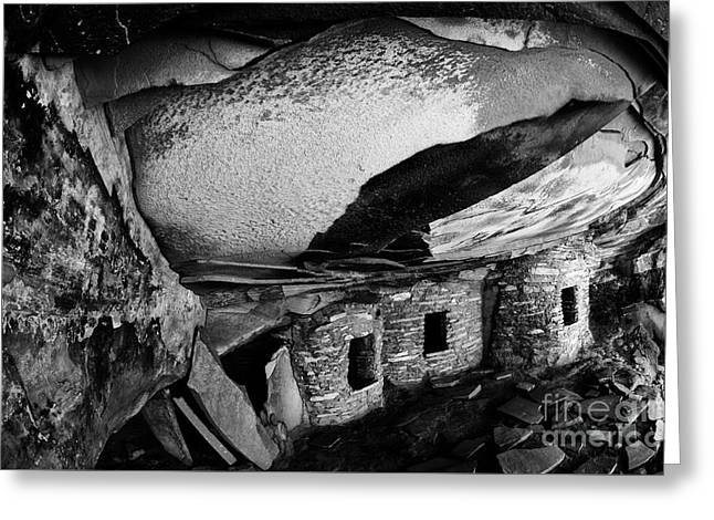 Roof Falling In Ruin Utah Monochrome Greeting Card by Bob Christopher