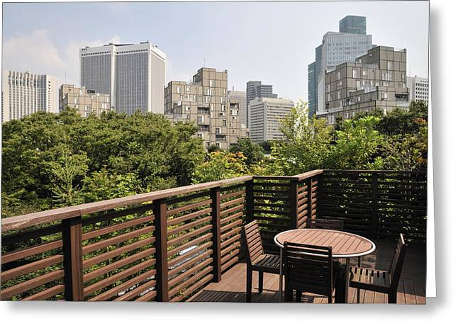Roof Terrace Above Rappongi Tokyo Japan Greeting Card by Andy Smy