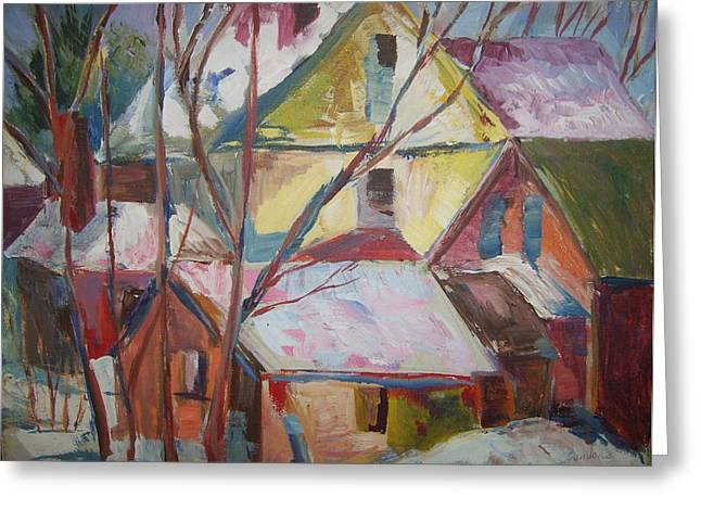 Roof Tops R Greeting Card by Joseph Sandora Jr