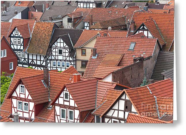 Deutschland Photographs Greeting Cards - Roofs of Bad Sooden-Allendorf Greeting Card by Heiko Koehrer-Wagner