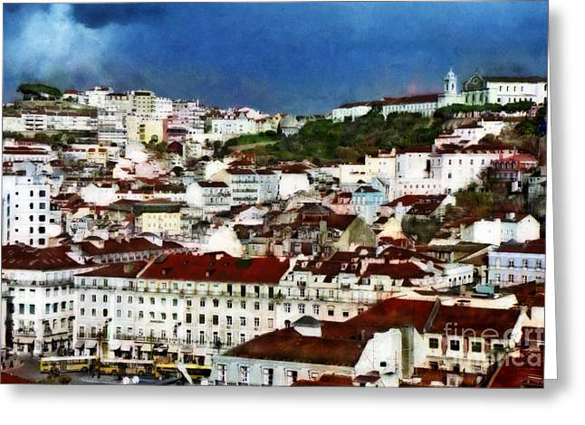 Greeting Card featuring the photograph Roofs Of Lisbon by Dariusz Gudowicz