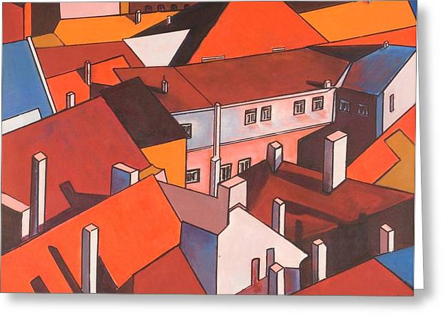 Prague Paintings Greeting Cards - Roofs of Prague Greeting Card by Miki  Sion