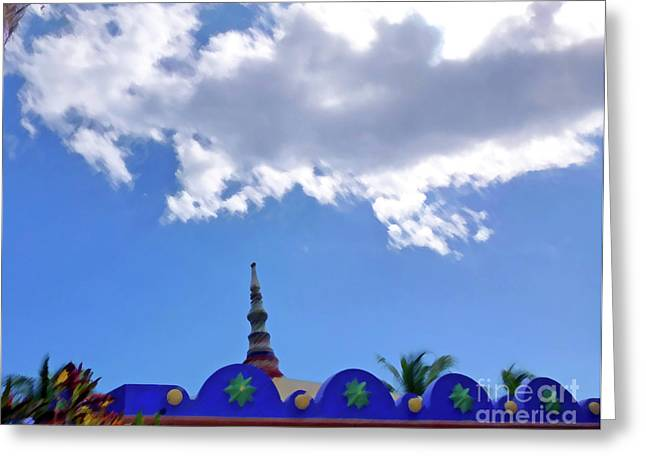 Greeting Card featuring the digital art Rooftop And Sky by Francesca Mackenney