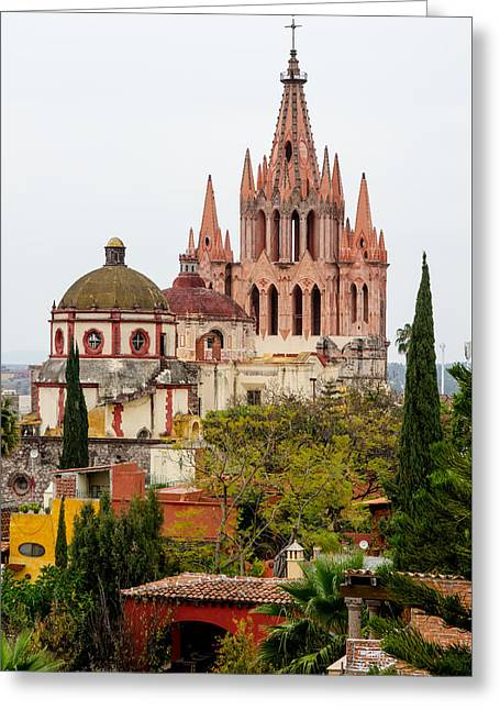 Rooftop View Of La Parroquia De San Miguel Arcangel Greeting Card by Rob Huntley