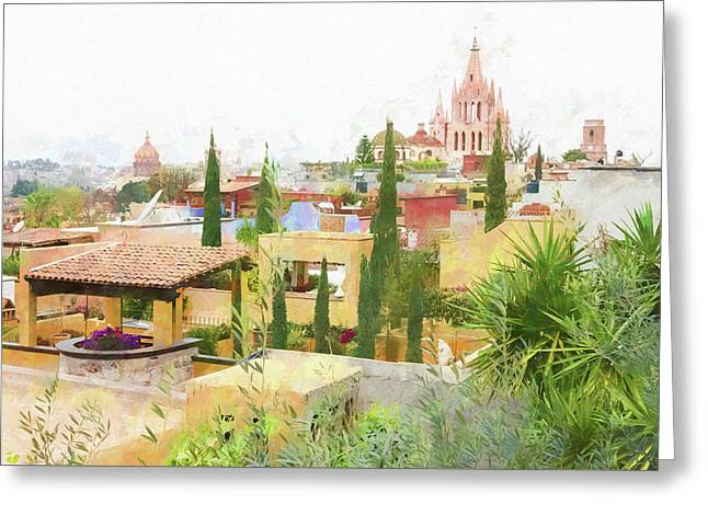 Rooftops And The Parroquia De San Miguel Arcangel, Mexico. Greeting Card by Rob Huntley