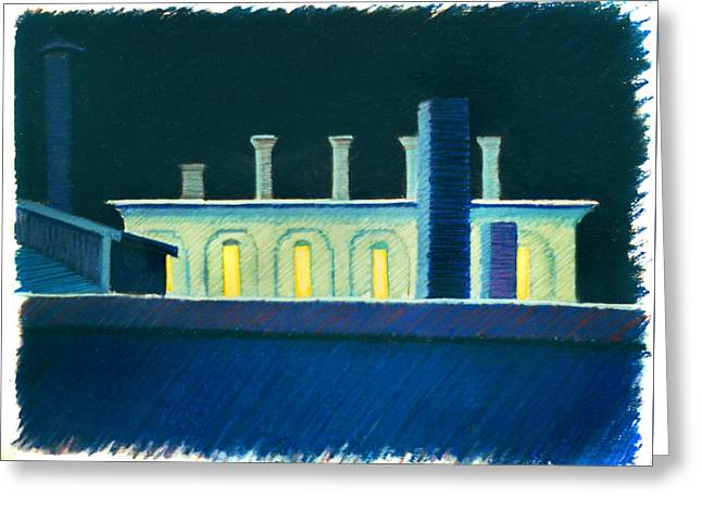Roof Tops At Night Greeting Card