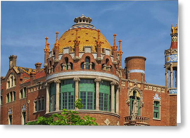 Rooftops At Sant Pau Barcelona Greeting Card by Dave Mills