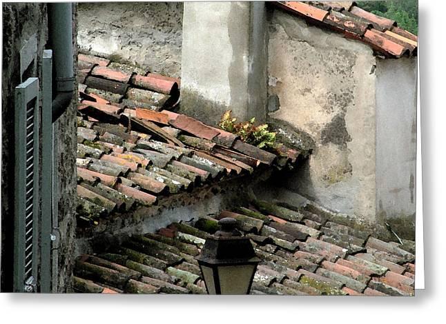 Rooftops Corsica Greeting Card by John Bradburn