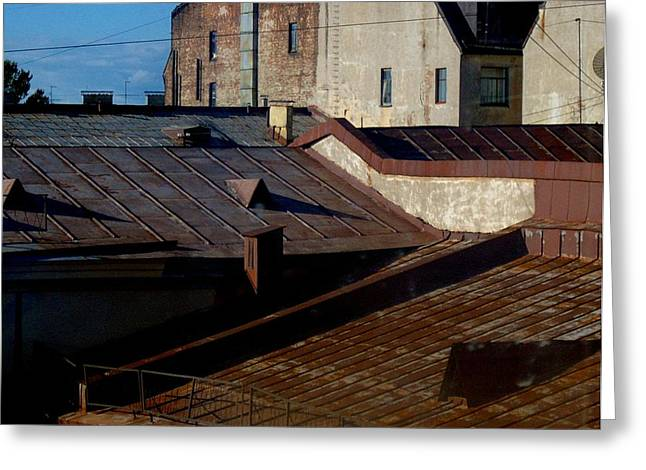 Greeting Card featuring the photograph Rooftops From The Sauna by Robert D McBain