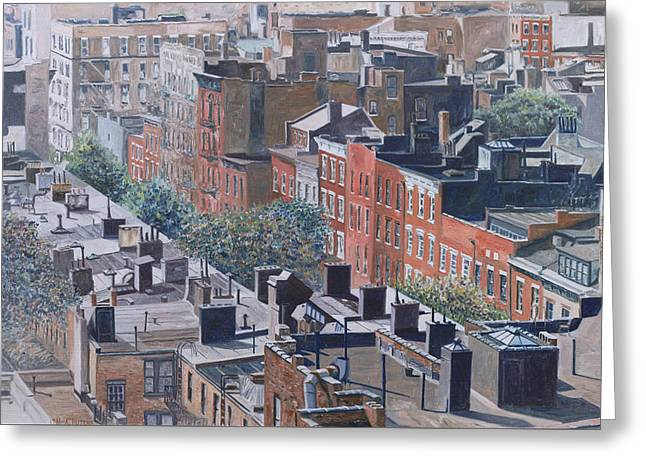 Rooftops Greenwich Village Greeting Card by Anthony Butera