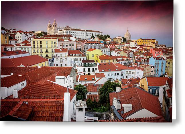 Rooftops Of Alfama Lisbon  Greeting Card