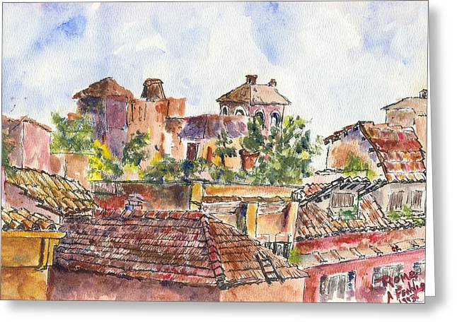 Rooftops Of Rome Greeting Card by Albert Fendig