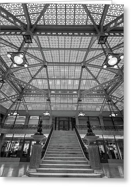 Rookery Building Lobby Bw Greeting Card by Steve Gadomski