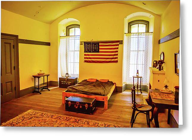 Room With American Flag Greeting Card by Garry Gay