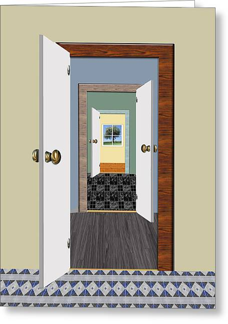 Rooms With A View Greeting Card by Elaine Plesser