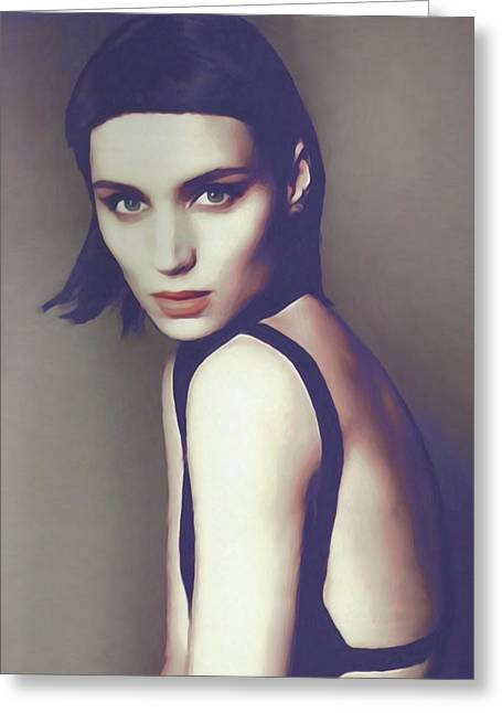the girl with the dragon tatoo - Rooney Mara Greeting Card