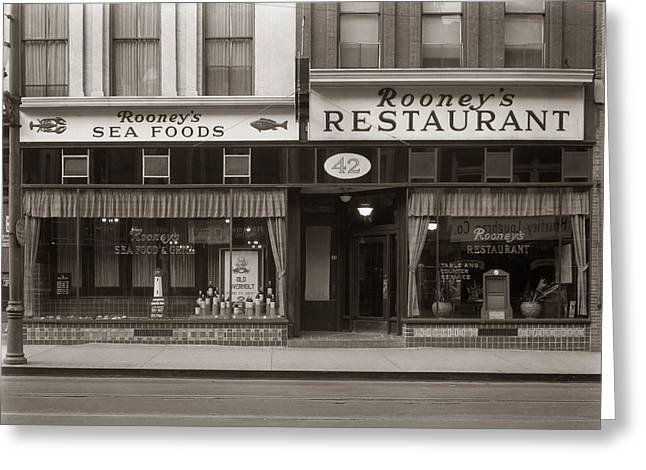 Anthracite Greeting Cards - Rooneys Restaurant Wilkes Barre PA 1940s Greeting Card by Arthur Miller