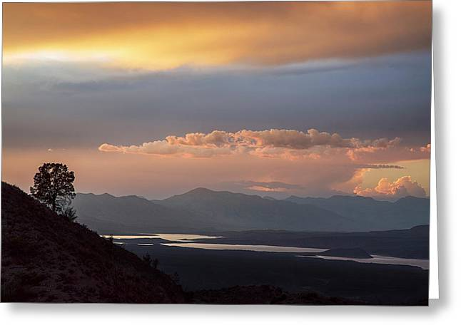 Roosevelt Lake At Sunset Greeting Card by Dave Dilli