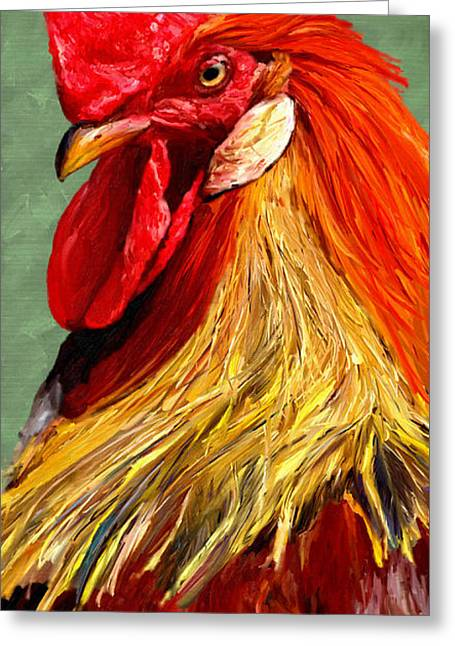 Greeting Card featuring the digital art Rooster 1 by James Shepherd