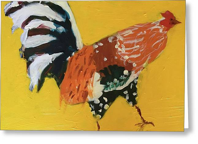 Greeting Card featuring the painting Rooster 2 by Donald J Ryker III